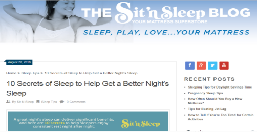 Sit'n Sleep Blog